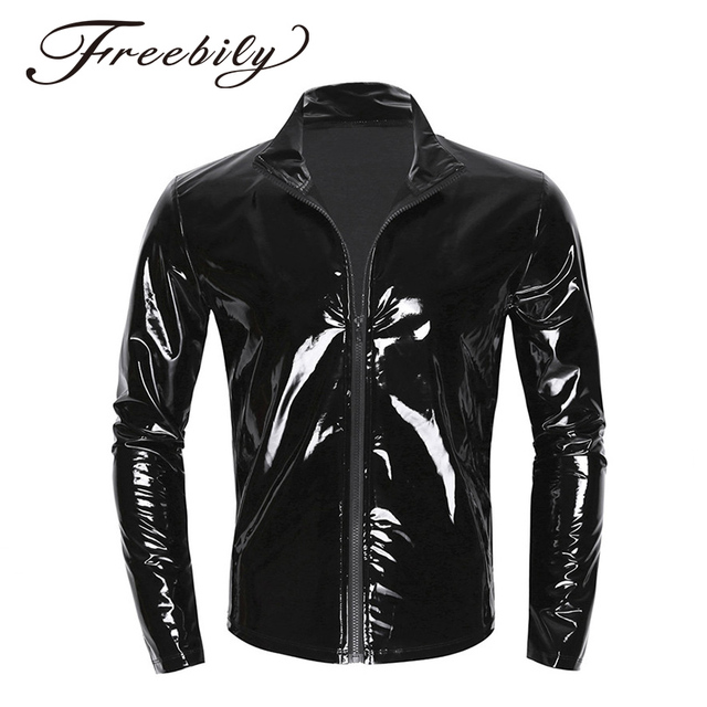 New Long Sleeve Patent Leather Men Shiny Metallic Front-Zip Stand Collar Tops Wet Look Nightclub Style Jackets Party Costumes