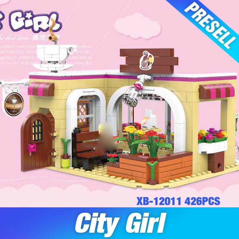 XINGBAO 12011New 426Pcs City Girls Series The Coffee Store Set Building Blocks Bricks Educational Funny Kid Toys Birthday Gifts krutoff 12011