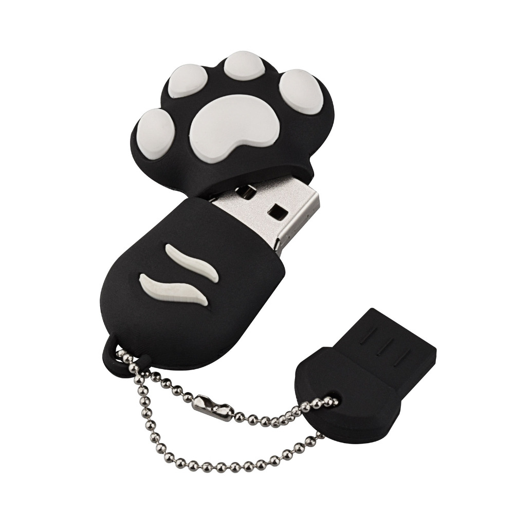 J boxing Black USB Flash Drive 32GB Lovely Cat Claws Pendrive 16GB USB Memory Stick Women 64GB Thumb Drive for Laptop Mac Tablet in USB Flash Drives from Computer Office