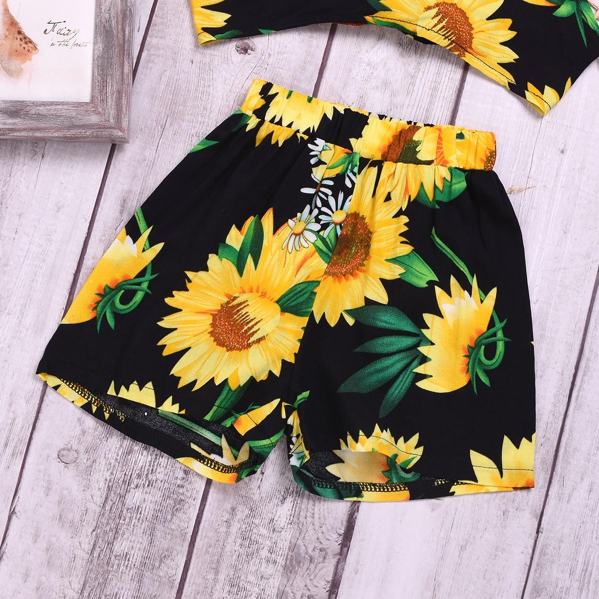 Neugeborenes Baby Mädchen Kleidung Kurzarm Strampler Sonnenblume Shorts Outfits