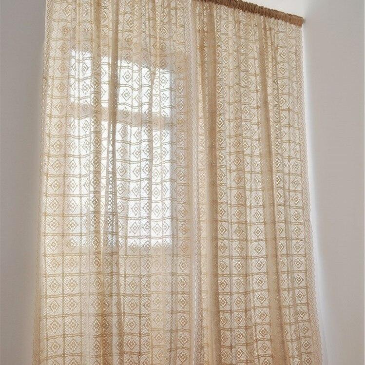 Cortina para sala de estar cor bege de croch estilo for Sala de estar estilo rustico