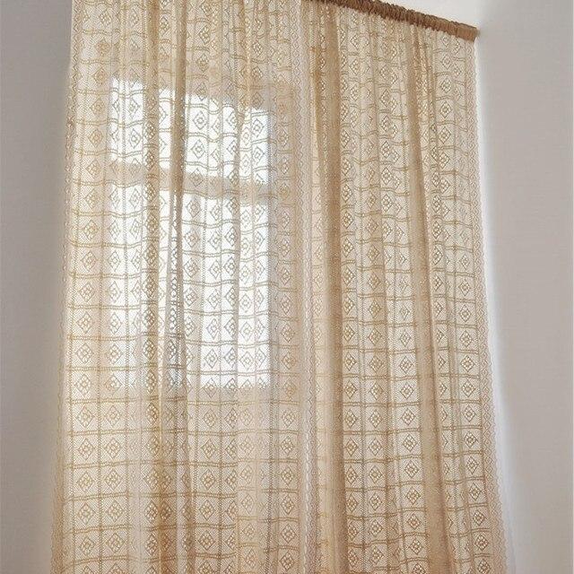 Rustieke Vintage stijl gehaakte gordijn voor woonkamer beige kleur ...