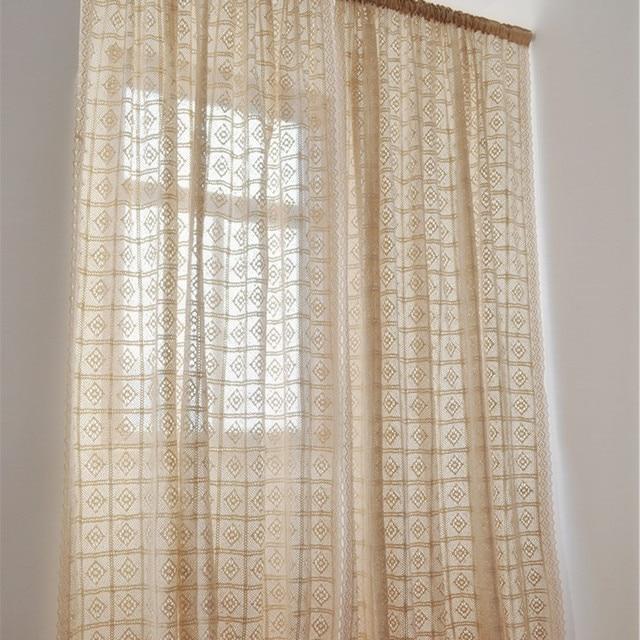 Rustikale Vintage stil häkeln vorhang für wohnzimmer beige farbe mit ...
