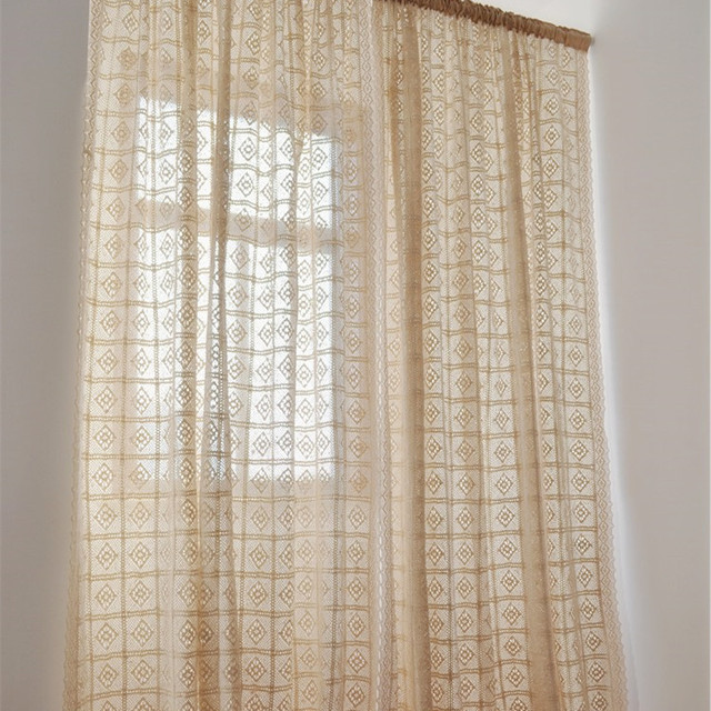 Rustic Vintage Style Crochet Curtain For Living Room Beige Color With Lace 180x180cm