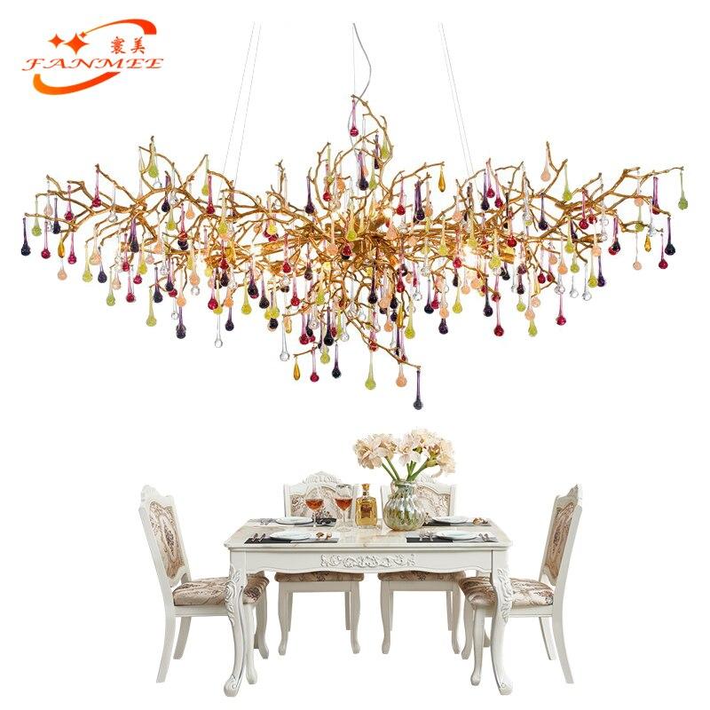 Luxury LED Copper Chandelier Large Glass Drop Copper Chandelier Pendant Hanging Lighting Living Dining Room Chandelier