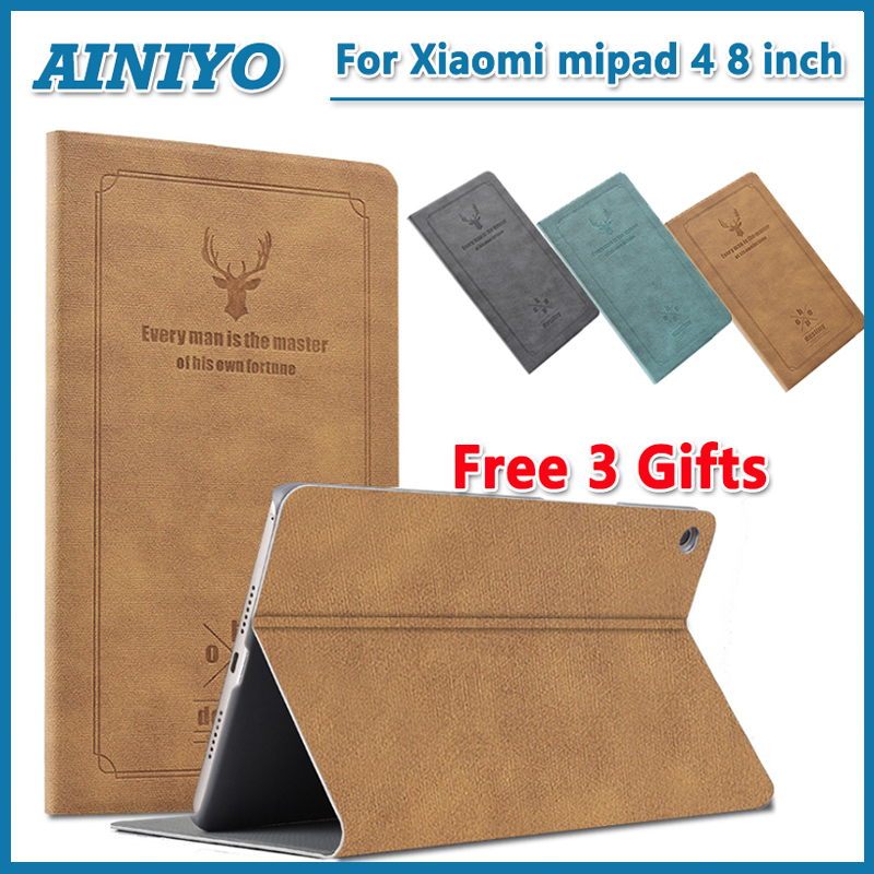 Stand Case For Xiaomi Mi Pad 4 Mipad4 8.0 inch Tablet PC Smart Case for Mi Pad4 mipad 4 Protective cover cases+Screen Film gifts moskii shield pc back case protective cover for xiaomi mi m4