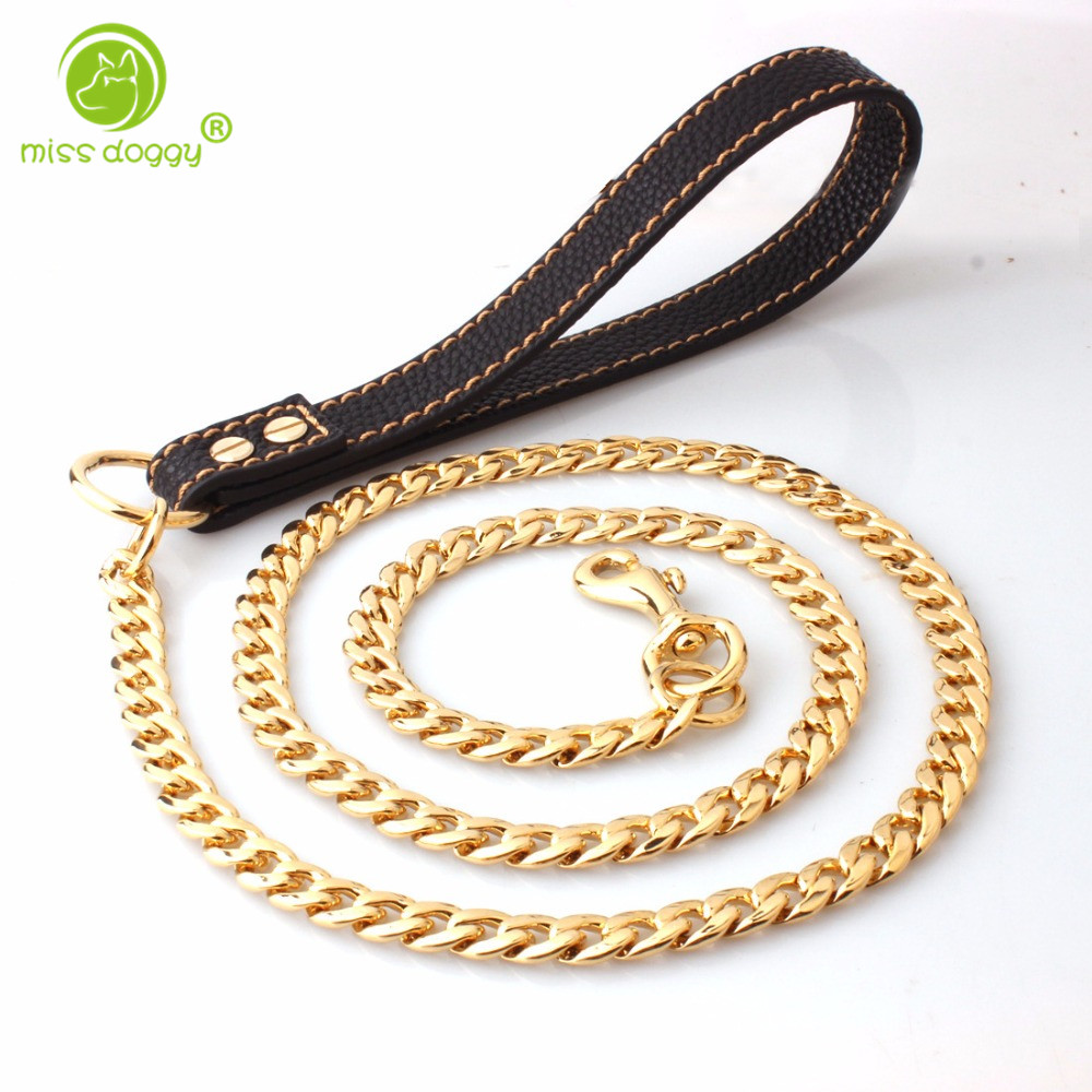 Anti Bite Metal Stainless Steel Medium Large Dogs Chain Leashes Snake Chain for Dogs Pitbull Golden Retriever Leather Handle