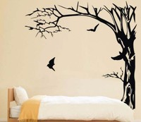 Large Black Trees and birds Wall Stickers Decal Removable Art Home Mural Vinyl 200X190CM