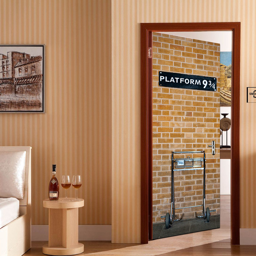 Platform 9 3/4 Door Stickers 3D Door Mural Wrap Glossy Bubble Free Sticker Peel And Stick Easy To Clean Vinyl Wallpaper London