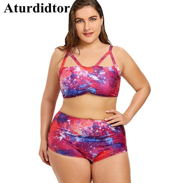 31f24e6e0eef9 3XL 4XL 5XL Bikini Plus Size Galaxy High Waist Lace Up Bikini Set Big Size  Swimsuit Blue Pink Swimwear Women Beach Bathing Suit