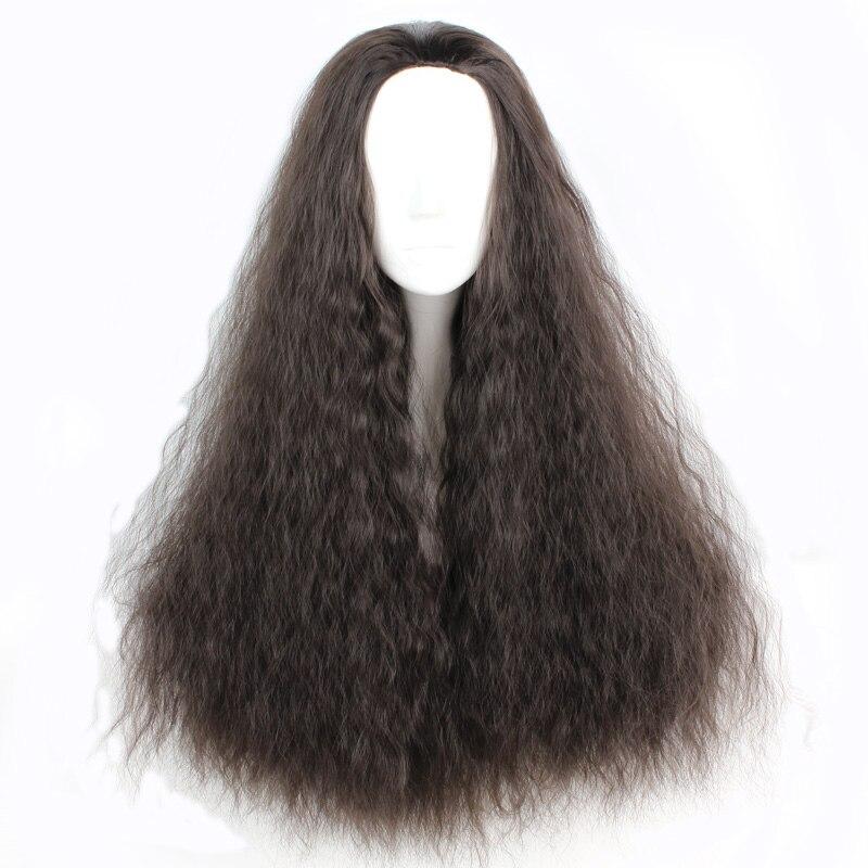 Mcoser 70 см химическое длинными вьющимися Кукуруза катится черный Цвет Косплэй парик без Синтетические чёлки волос 100% Высокое Температура Вол...