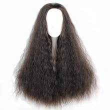 Mcoser 70 см химическое длинными вьющимися Кукуруза рулонов черный цвет косплей без челки 100% Высокая температура волокна волос WIG-818A