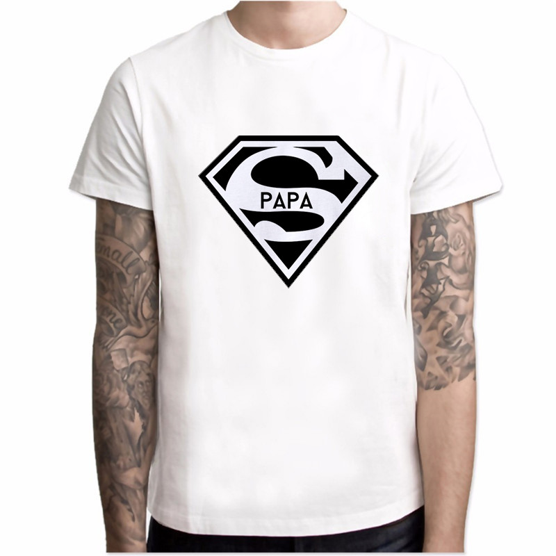 2019 Super Papa T-shirt Fathers Day Gift Dads Funny T Shirt Best Dad Tshirt Men Summer Casual Hipster Slogan Tee Shirt Homme Top