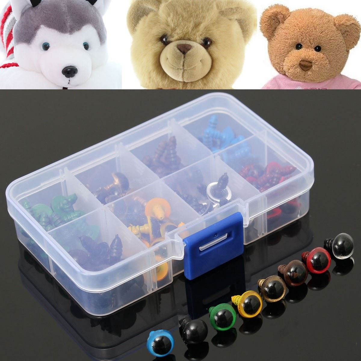 DIY Chicest 80Pcs 40Pairs 8 Color Mix 10mm Safety Eyes Box for Teddy Bear Stuffed Toy