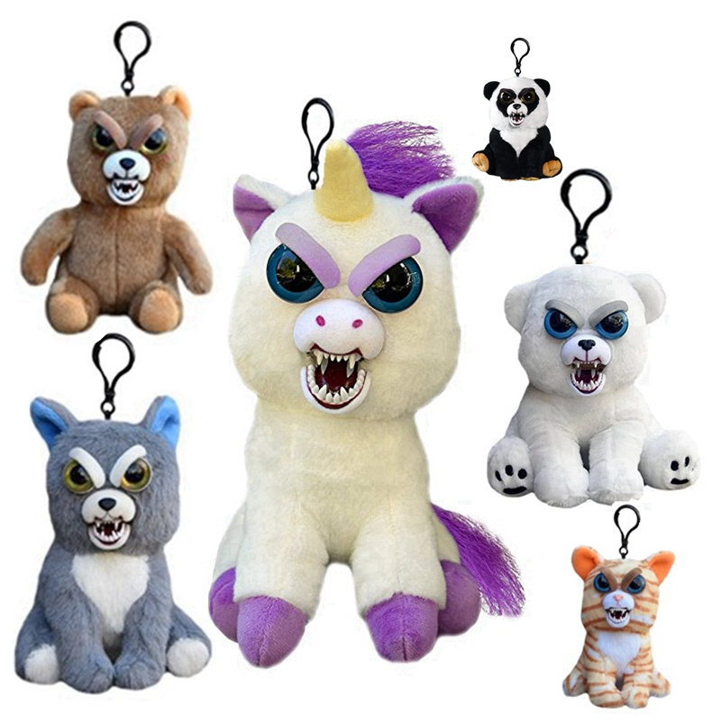 Feisty Pets Change Face Animal Unicorn Bear Dog Panda Stuffed Plush Toy Doll With Keychain