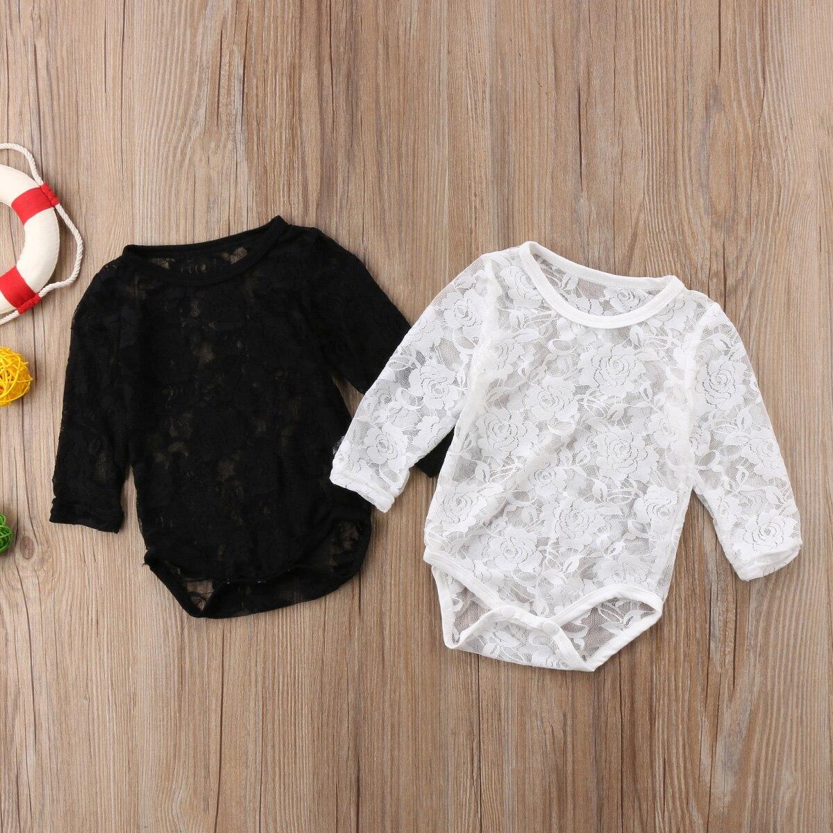 2018 Neugeboren Baby Mädchen Langen Ärmeln Spitze Sunsuit Weiß Oder Schwarz Jumpsuit Body Overall Feste Beiläufige Outfit Hindernis Entfernen