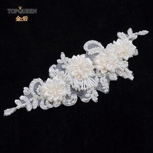 Image 5 - TOPQUEEN H346 Mode Bruids Haar Accessoires Voor Vrouwen kant Bloem met kralen Parel Haarband Bruid Hoge Kwaliteit Haar Sieraden