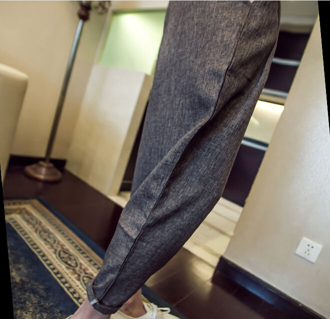 Men Spring Summer Mens Linen Pants Male Trouse Simple Grey Black Casual High Quality Straight Pants