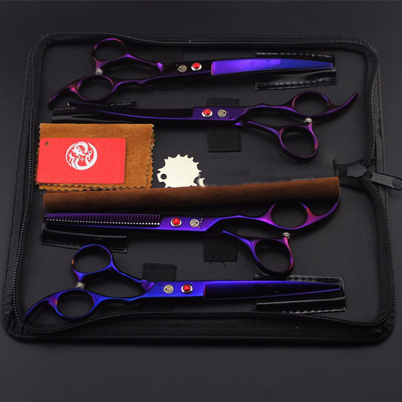 4pcs/set 7 inch Professional Pet Dog Grooming Scissors 2 Curved Scissors + 1 Thinning Scissor + 1 Straight Shears Pet Hair Cut