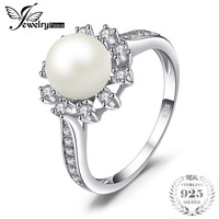 JewelryPalace Snowflake 7mm Freshwater Cultured Pearl Halo Enagement Ring 925 Sterling Silver Ring Fashion Women Hot