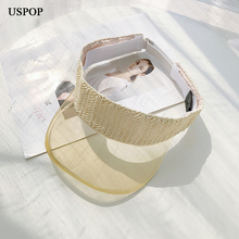 USPOP 2019 New sun hats transparent brim straw caps without top fashion summer patchwork visor