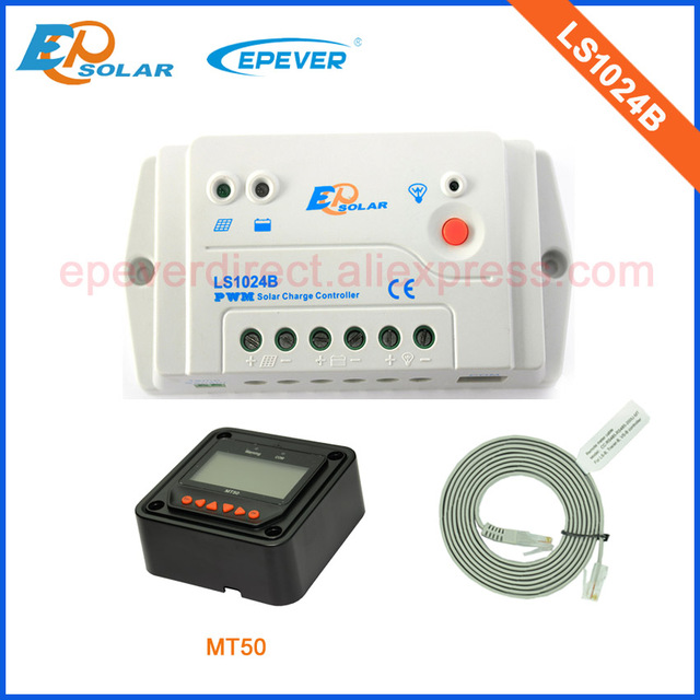 EPSolar brand factory 10a 10amp regulators LS1024B with black MT50 remote meter in home use 12v 24v