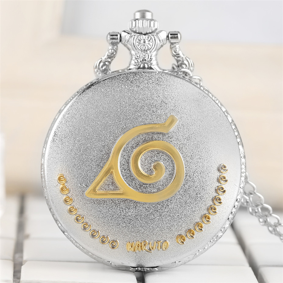 Silver Antique Japanese Anime Naruto Theme Quartz Pocket Watch Exquisite Design Pendant Necklace Clock Gifts For Kids Men Women