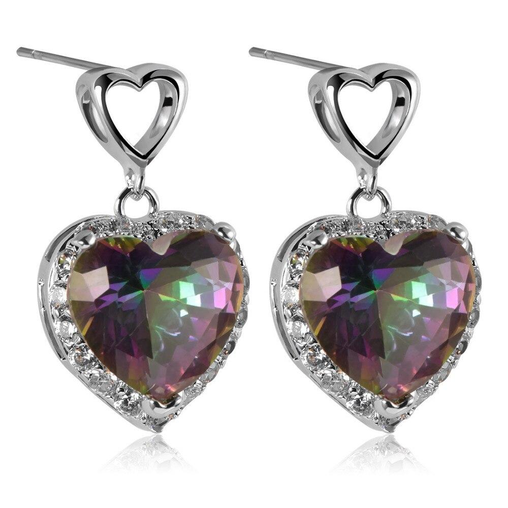 Rose Rainbow Crystal Zircon 925 Sterling Silver Fashion Earrings Mur Nilon M8 Ss 304 Lock Nut Nylon Te766