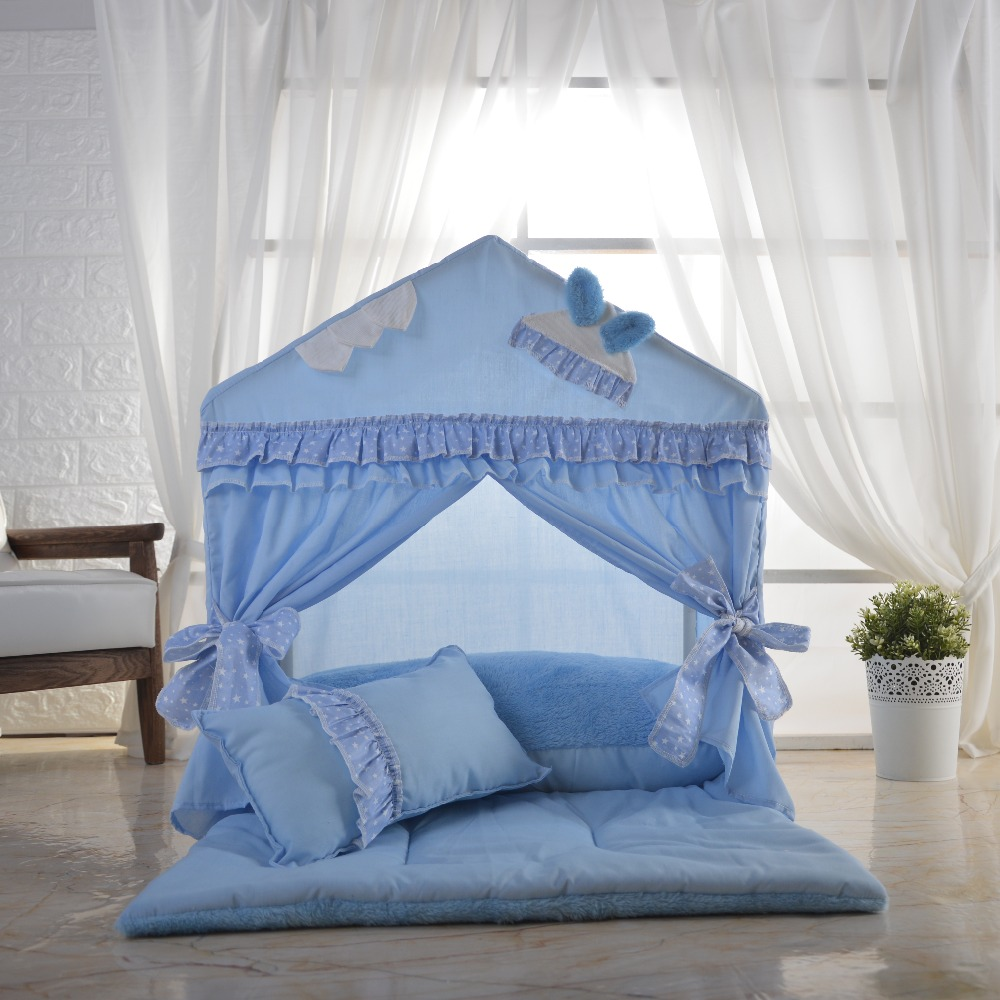 Cotton pet house puppy tent Lace kennel with upholstered and quilt kennel beautiful pet lodge