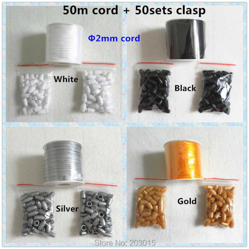 50meter 2mm Satin Cord with Safety Plastic Breakaway Clasps for DIY Silicone Baby Teething Pendant Necklace