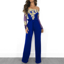 new best selling casual jumpsuit mesh yarn stitching embroidery collar sexy long sleeve flower lace