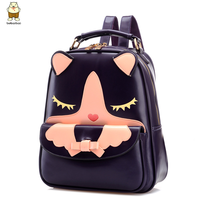ФОТО Women Leather Cartoon Backpacks School Students Japanese and Korean Fashion Famous Brand Style Travel Bags for Teenager Girls