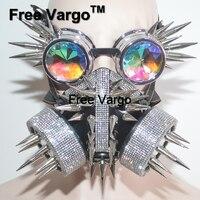 Голографическая Rave Хэллоуин Streampunk горящий человек маска Спайк очки костюмы косплэй фестиваль одежда наряд шестерни