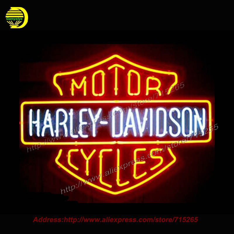 NEW HARLEY DAVIDSONLIGHT SIZE 19 X15 GLASS NEON SIGN LIGHT BEER BAR PUB SIGN ARTS CRAFTS