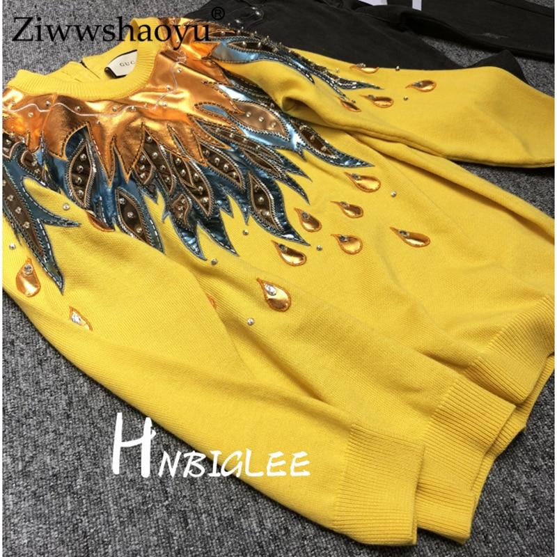 Métal Chandail Pull Laine En D'hiver Cuir Longues Manches Ziwwshaoyexquisite Perlée Texture Brodé Femmes De À 18 pq0FRw5