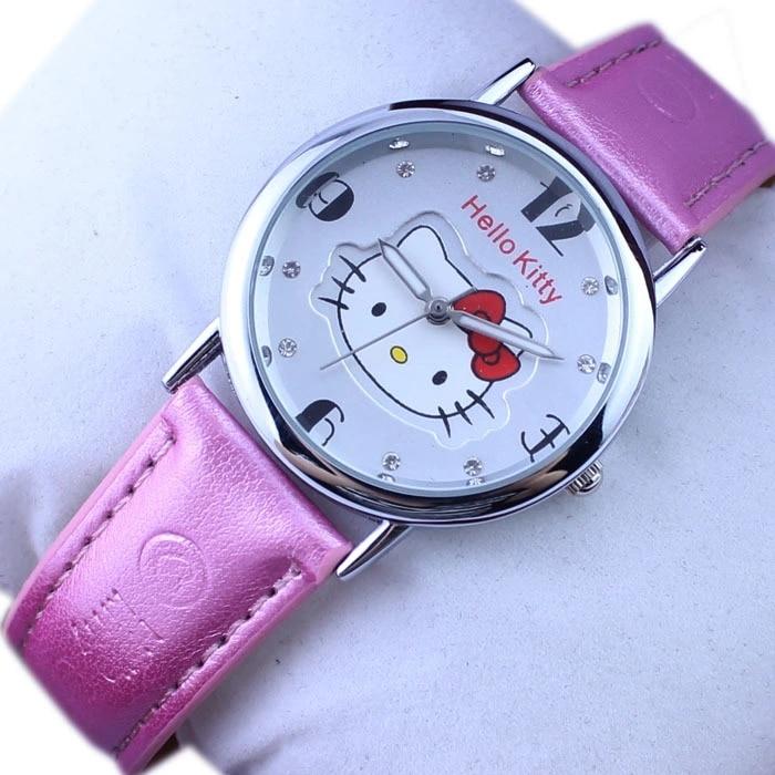 New Fashion Children Hello Kitty Pink KT Cute Cartoon Cat Baby Leather Quartz Watch Girls