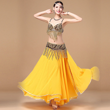 Belly Dance Costume Oriental Full Skirt Double High Slit Dancing Dress Performance for Women Stage Show