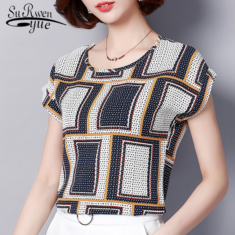 fashion 2019 chiffon women   blouse     shirt   summer short sleeve print women's clothing plus size o-neck ladies tops blusas D572 30