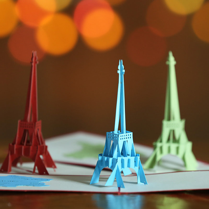 1 78 5 De Descuento 3d Corte Láser Hecho A Mano Tallado 3 Colores Torre Eiffel Papel Invitación Tarjetas De Felicitación Postal Niños Cumpleaños
