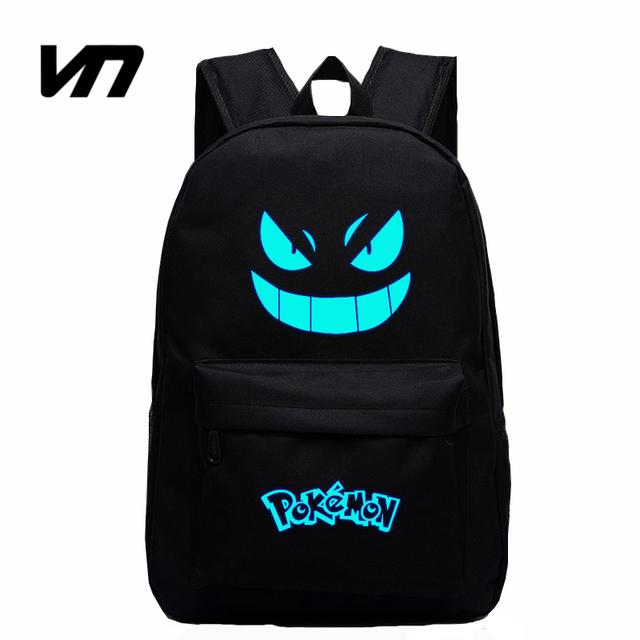 2016 Venda Quente da Galáxia Luminosa Mochila Impressão Mochilas Pokemon Gengar Emoji Backpack School Bolsas Para Adolescentes Mochila dos homens