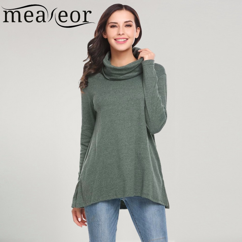 fdc29ba8685 Meaneor Women Winter Sweaters Casual Turtle Neck Long Sleeve Solid Split  Hem Loose Sexy t shirt Soft Slim T-shirt Tops 2017 New