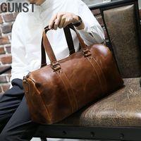 GUMST Brand Crazy Horse PU Leather Men's Travel Bags Coffee Bucket Handbags Shoulder Bag large Men Business Luggage Bag