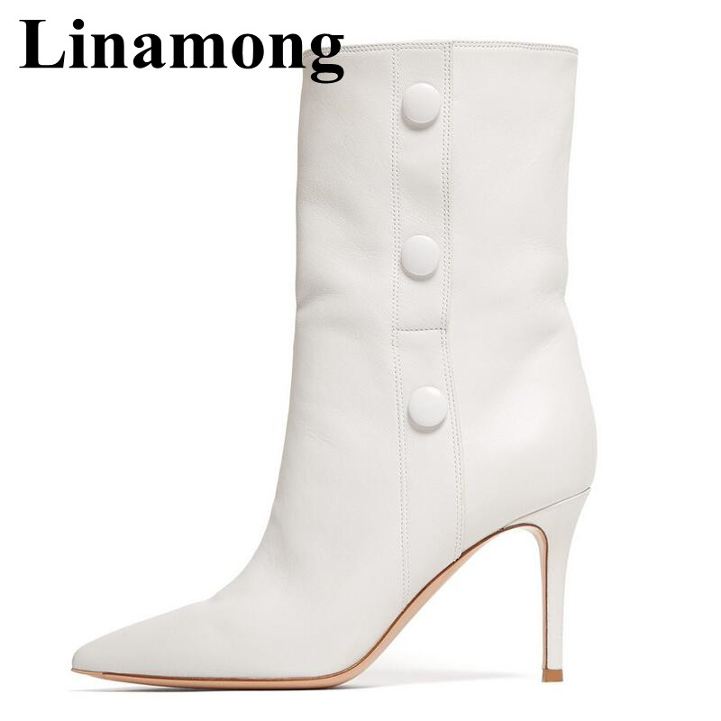 Hottest White Pointed Toe And High Heel Mid-Calf Boots Autumn And Winter Fashion Button Decoration Women Boots High QualityHottest White Pointed Toe And High Heel Mid-Calf Boots Autumn And Winter Fashion Button Decoration Women Boots High Quality