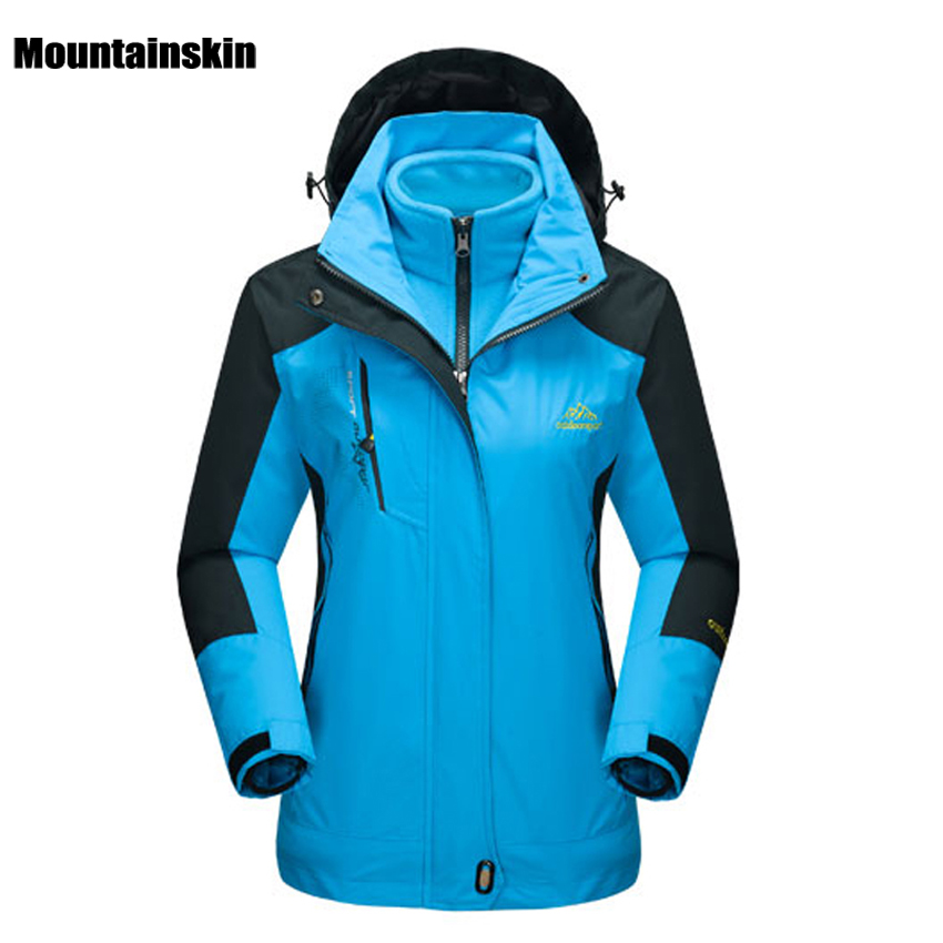 Mountainskin Women's Winter 2 pieces Softshell Fleece Jackets Outdoor Sports Waterproof Thermal Hiking Skiing Female Coats RW015 стоимость