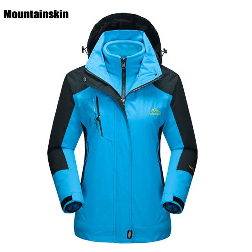 Prix pour Mountainskin de Femmes D'hiver 2 pièces Softshell Polaire Vestes Sports de Plein Air Étanche Thermique Randonnée Ski Femme Manteaux RW015