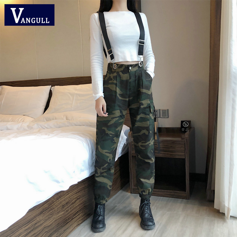 VANGULL Camouflage Cargo Pants Women   Jumpsuits   2019 Spring Autumn Fashion Long Jogger Pants Rompers Ladies Streetwear Overalls