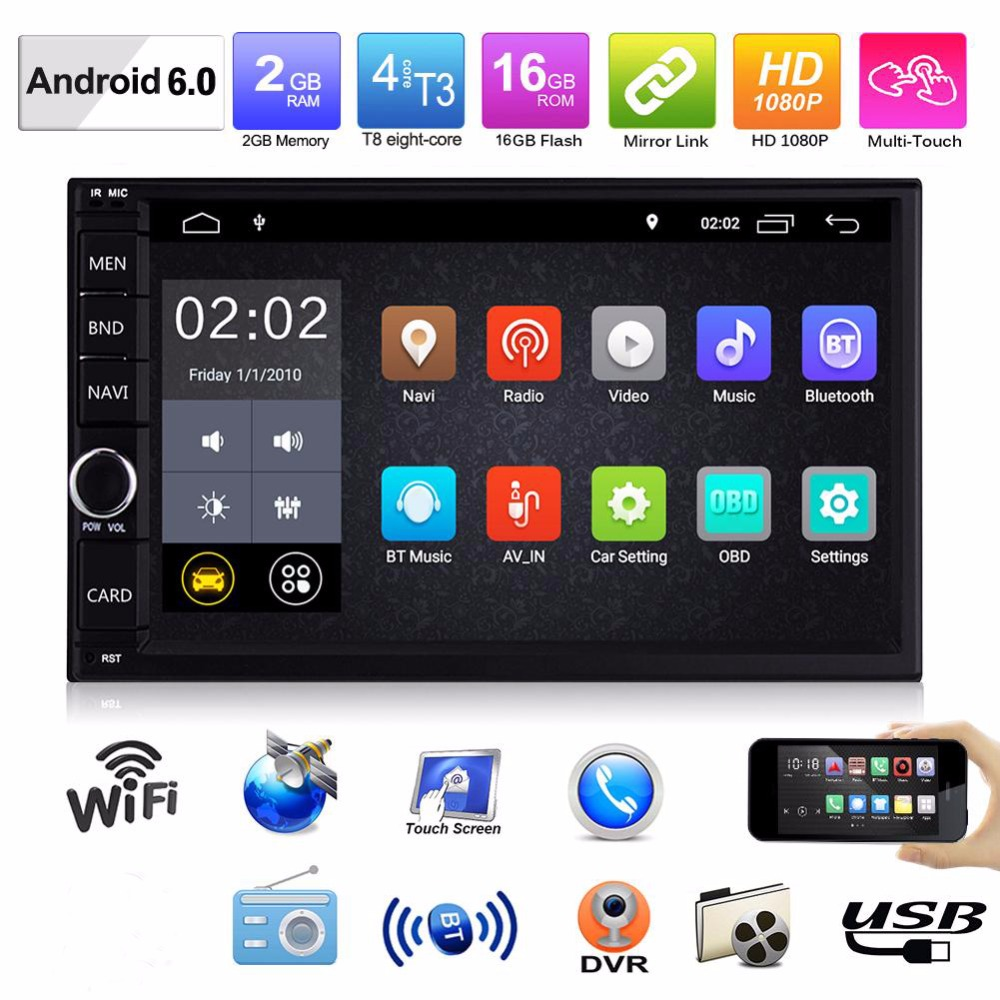 "Universal 2Din Car Radio 7"" HD Autoradio Android 6.0 2G+16G Multimedia Player WiFi GPS Audio Car Stereo MP5 Bluetooth USB FM"