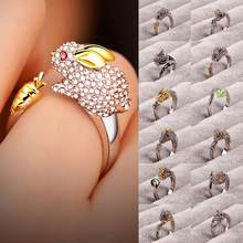 925 Silver Crystal Lovely Dog Pig Rabbit Monkey Shape Inlaid 12 Animal Rings Women Girl Opening Ring Wedding Party Jewelry(China)