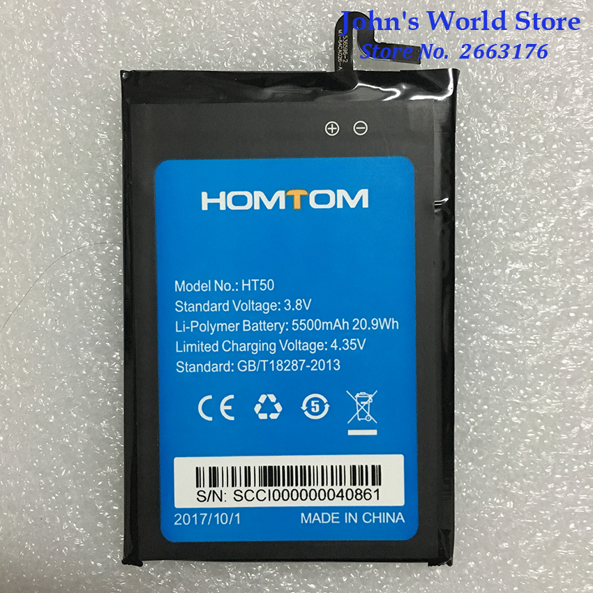 100% Original HOMTOM HT50 Battery Replacement 5.5inch 5500mAh Backup Batteries Replacement For HOMTOM HT50 Smart Phone