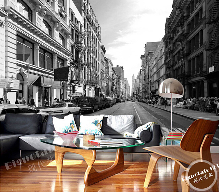 Vintage Metallic Black Silver Wallpaper New York City Scenery Wall ...